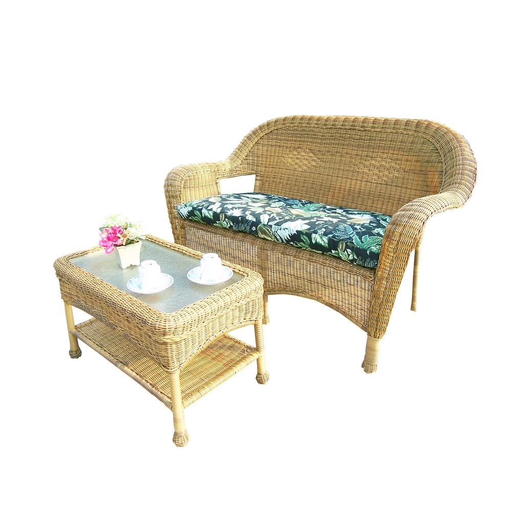 Natural 2-Piece Wicker Patio Conversation Set with Black Floral Cushions