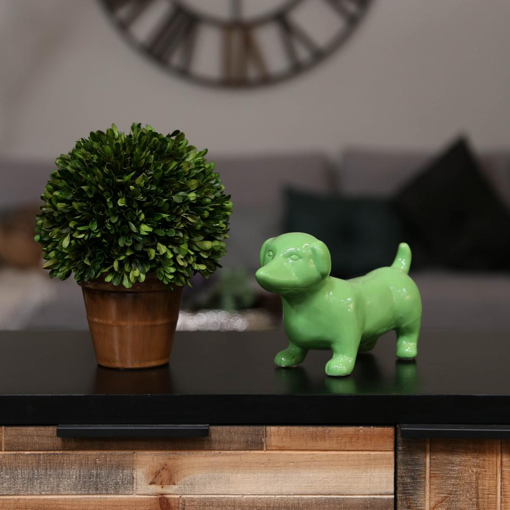 Urban Trend 6.25 in. H Dog Decorative Figurine in Green G...