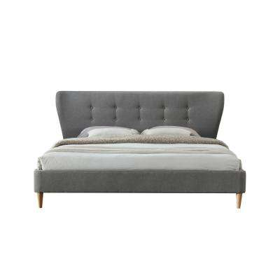 Dayton King Tufted Upholstered Platform Bed in Light Gray