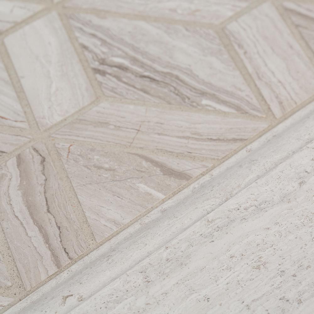 Limestone Gray 4 in. x 12 in. Honed Limestone Wall Base Trim Tile