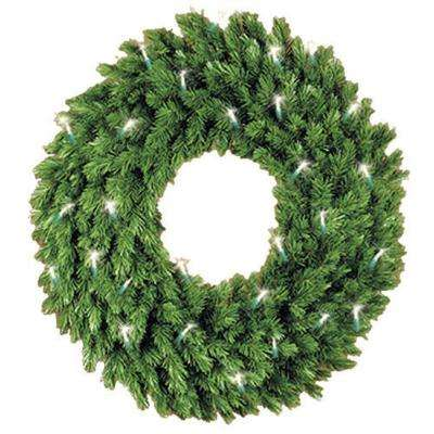 60 in. Pre-Lit Aspen Spruce Artificial Christmas Wreath with Clear Lights