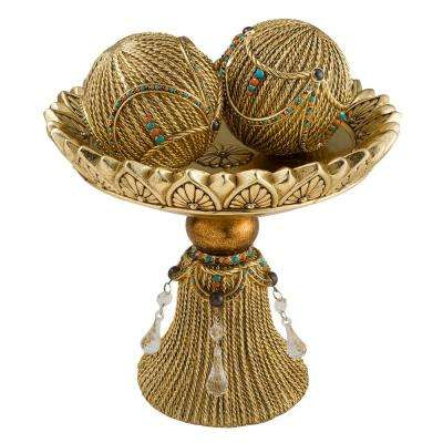 Gold Auric Polyresin Decorative Bowl With Spheres