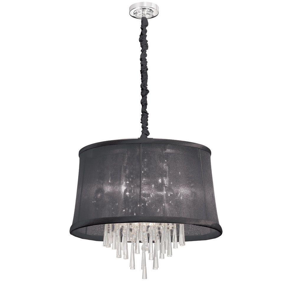 Julia 6-Light Polished Chrome Crystal Pendant with Organza Black Shade