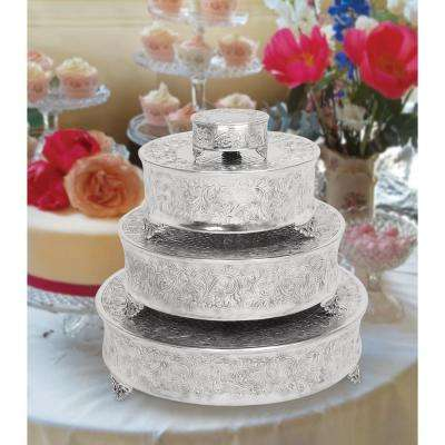 Silver Aluminum Set of 4 Cake Stands (4-Pack)
