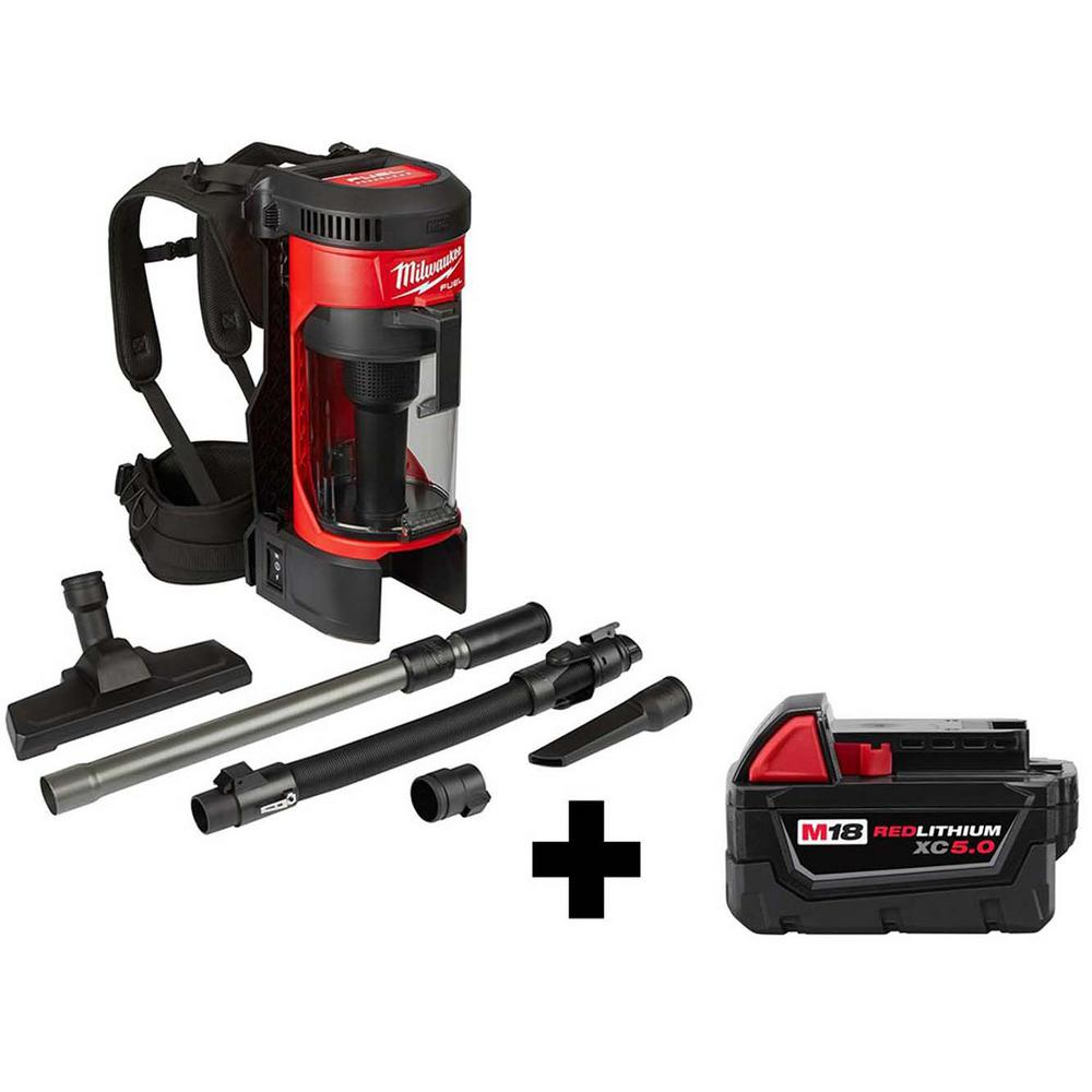 Milwaukee M18 FUEL 1 Gal. 18-Volt Lithium-Ion Brushless Cordless 3-in-1 Backpack Vacuum W/ 5.0Ah Battery