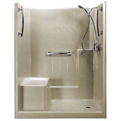 Freedom Chrome-V 60 in. x 33 in. x 77 in. 1-Piece Low Threshold Shower Stall in Beach, Shower Kit, L-Seat, Right Drain