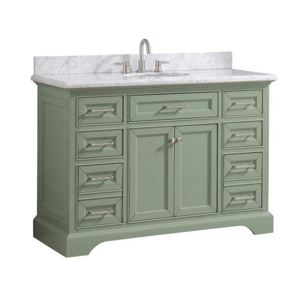Home Decorators Collection Windlowe 49 In W X 22 In D X 35 In H Bath Vanity In Green With Carrera Marble Vanity Top In White With White Sink 15101 Vs49c Sg The Home Depot