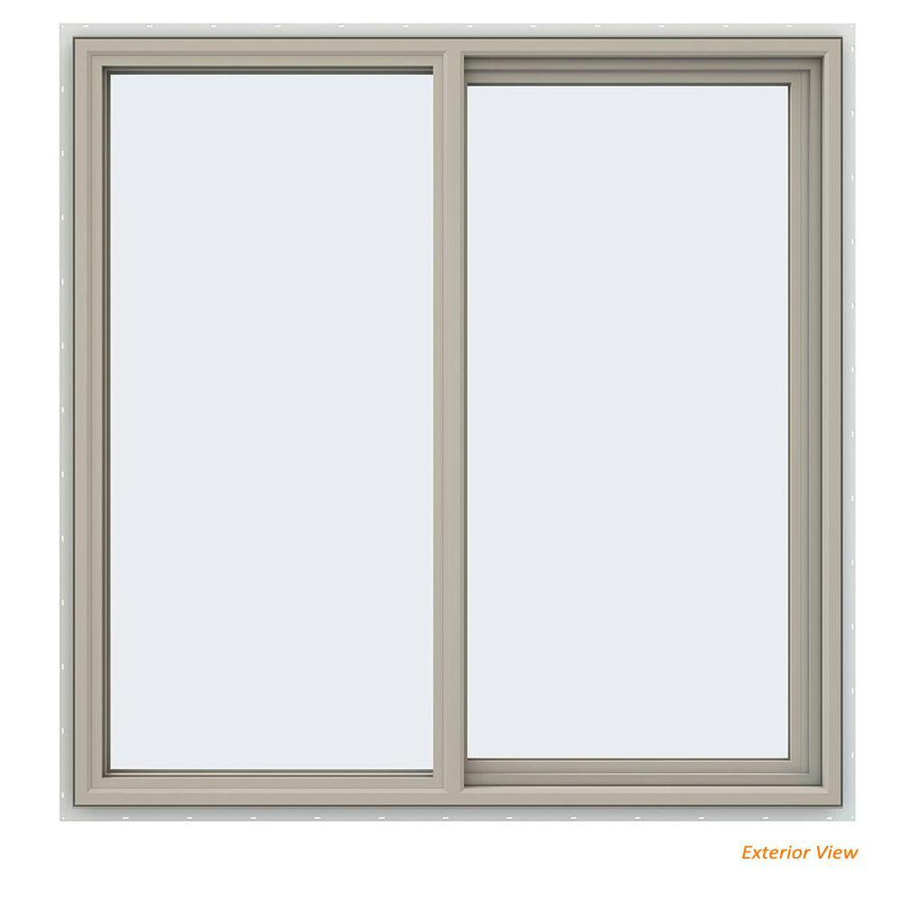 47.5 in. x 47.5 in. V-4500 Series Desert Sand Vinyl Right-Handed Sliding Window with Fiberglass Mesh Screen
