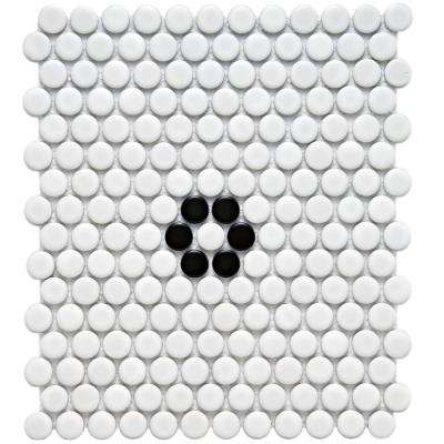 Metro Penny Matte White with Black Flower 9-3/4 in. x 11-1/2 in. x 6 mm Porcelain Mosaic Tile (8 sq. ft. / case)