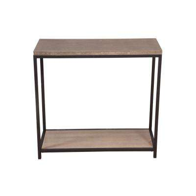 2-Tier Distressed Gray Solid Bamboo Steel Frame Console Table