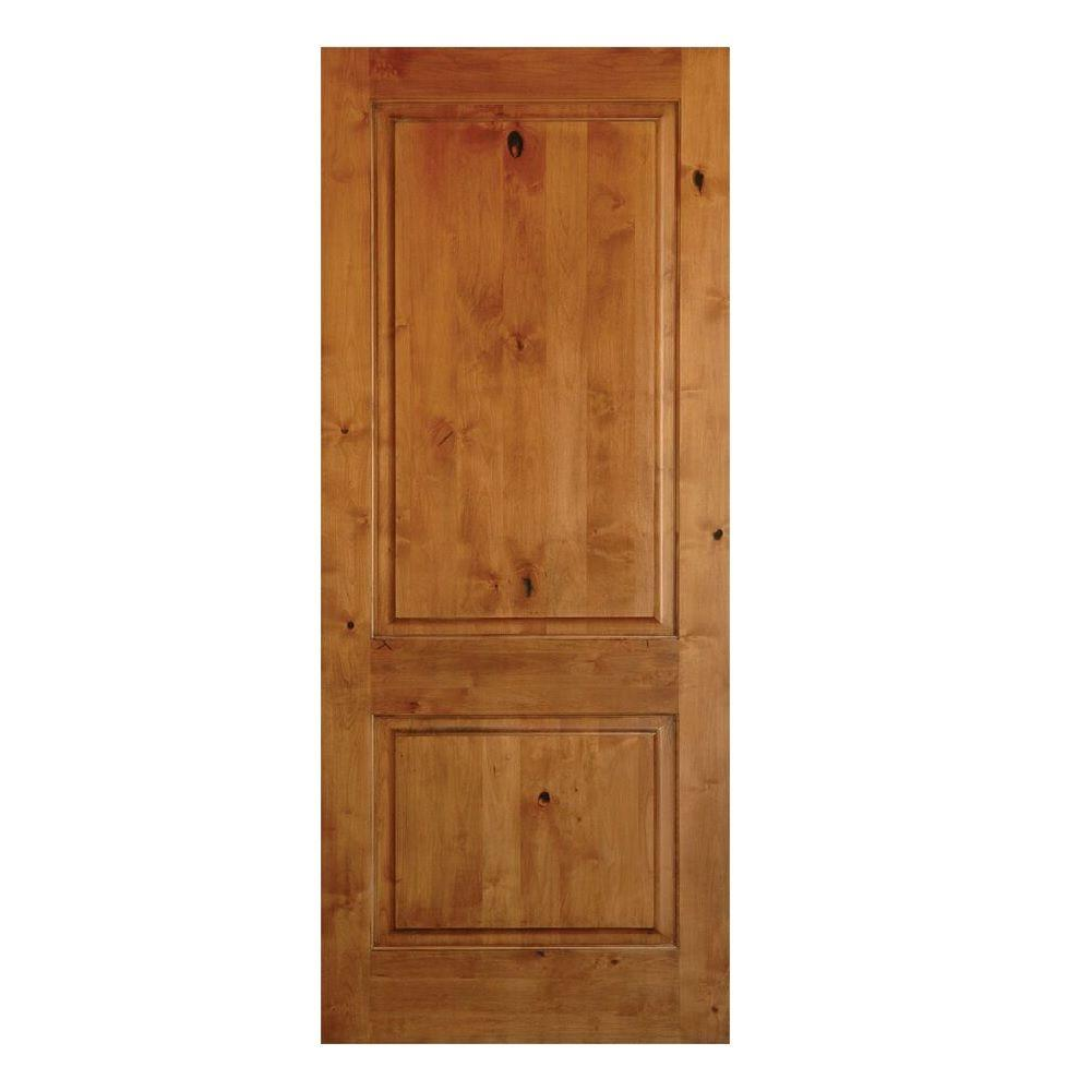 Rustic knotty alder 2 panel square top solid wood right hand single prehung interior door