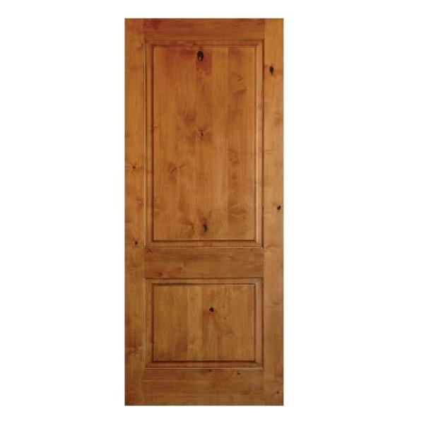 18 in. x 80 in. Rustic Knotty Alder 2 Panel Square Top Solid Wood Right-Hand Single Prehung Interior Door