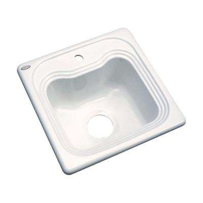 Oxford Drop-In Acrylic 16 in. 1-Hole Single Basin Entertainment Sink Biscuit