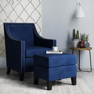 Dorel Living Tomo Navy Blue Upholstered Sleigh Arm Chair and ...