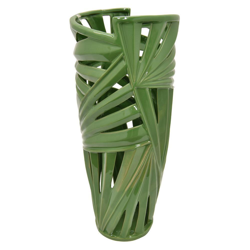 21 in. Green Ceramic Pierced Vase