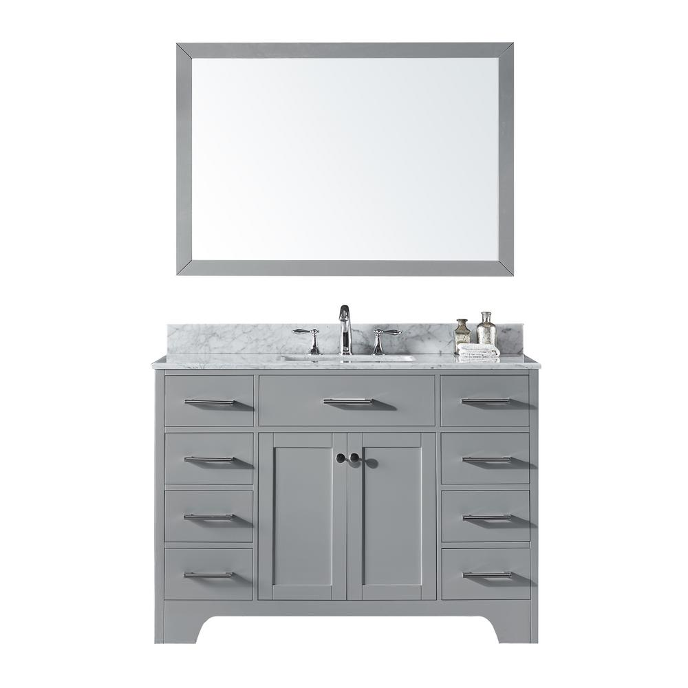 Exclusive Heritage 48 In Single Sink Bathroom Vanity Taupe Grey With Carrara White Marble