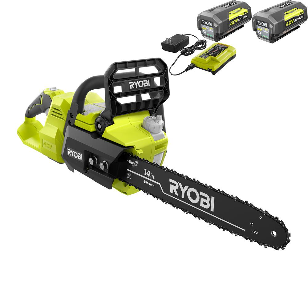 RYOBI 14 in. 40-Volt Brushless Lithium-Ion Cordless Chainsaw - Two 4 Ah Batteries and Charger Included
