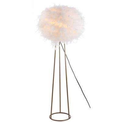 Stork 52 in. White Feather Metal LED Floor Lamp, Gold