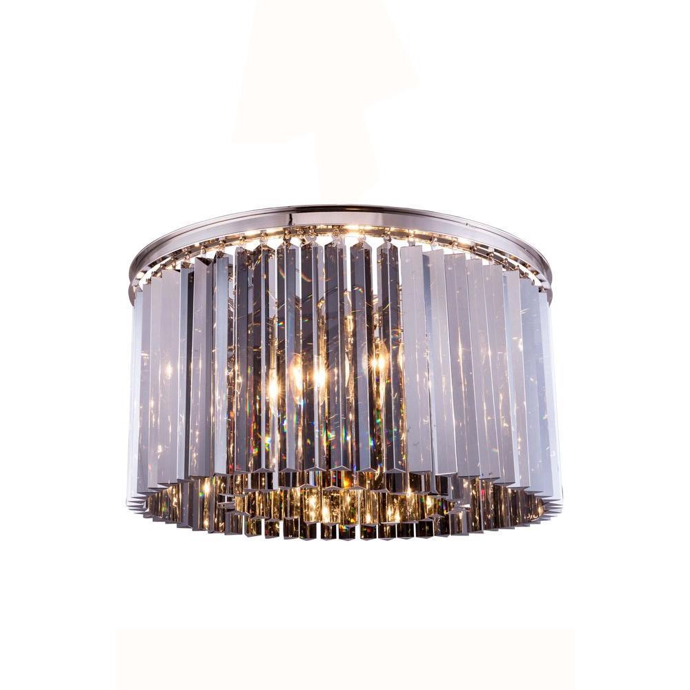 Sydney 8-Light Polished Nickel Flush Mount with Silver Shade Grey Crystal