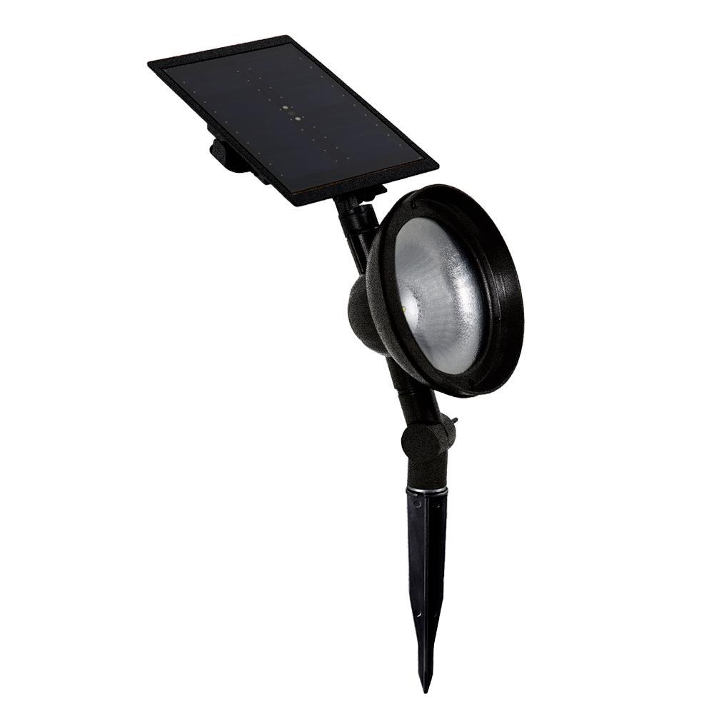 Solar Textured Black Outdoor Integrated LED Landscape Spot Light