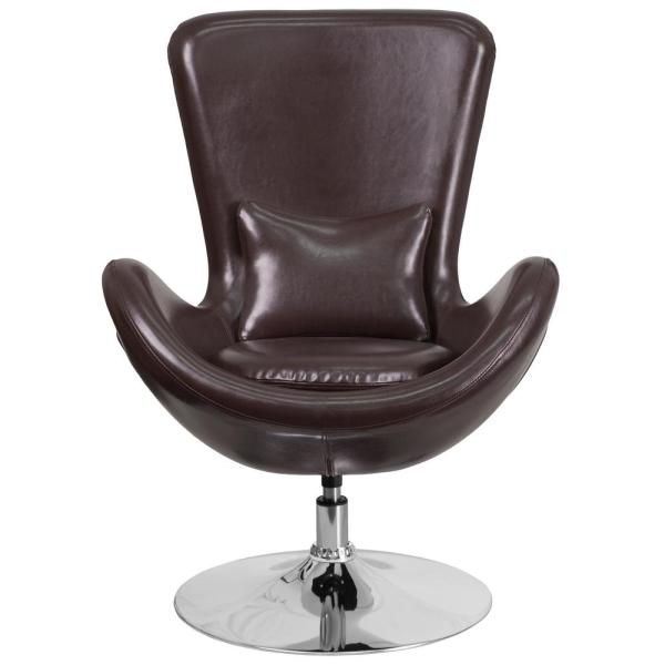 Flash Furniture Brown Leather Egg Series Reception-Lounge-Side Chair CH162430BNLEA