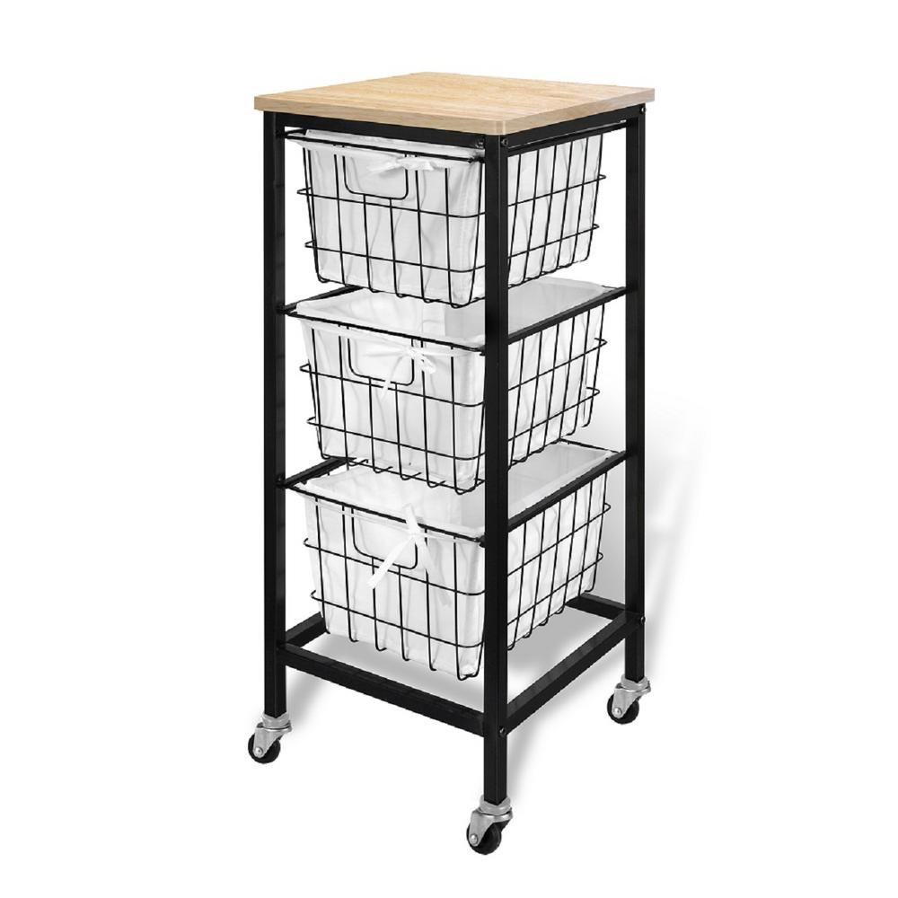3 Drawer Wire Storage Cart- Natural Natural-22019 - The Home Depot