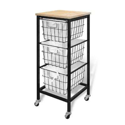 3 Drawer Wire Storage Cart- Natural