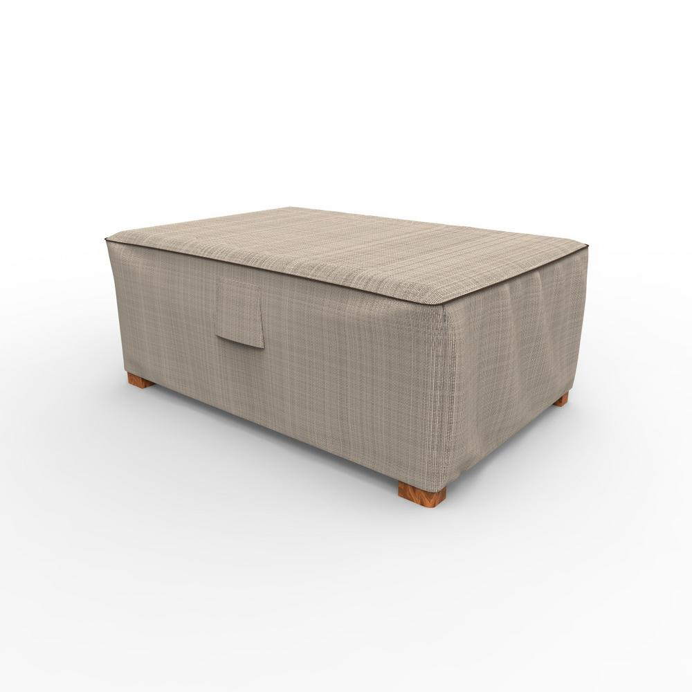 English garden 18 in h x 33 in w x 25 in l tan tweed outdoor ottoman cover