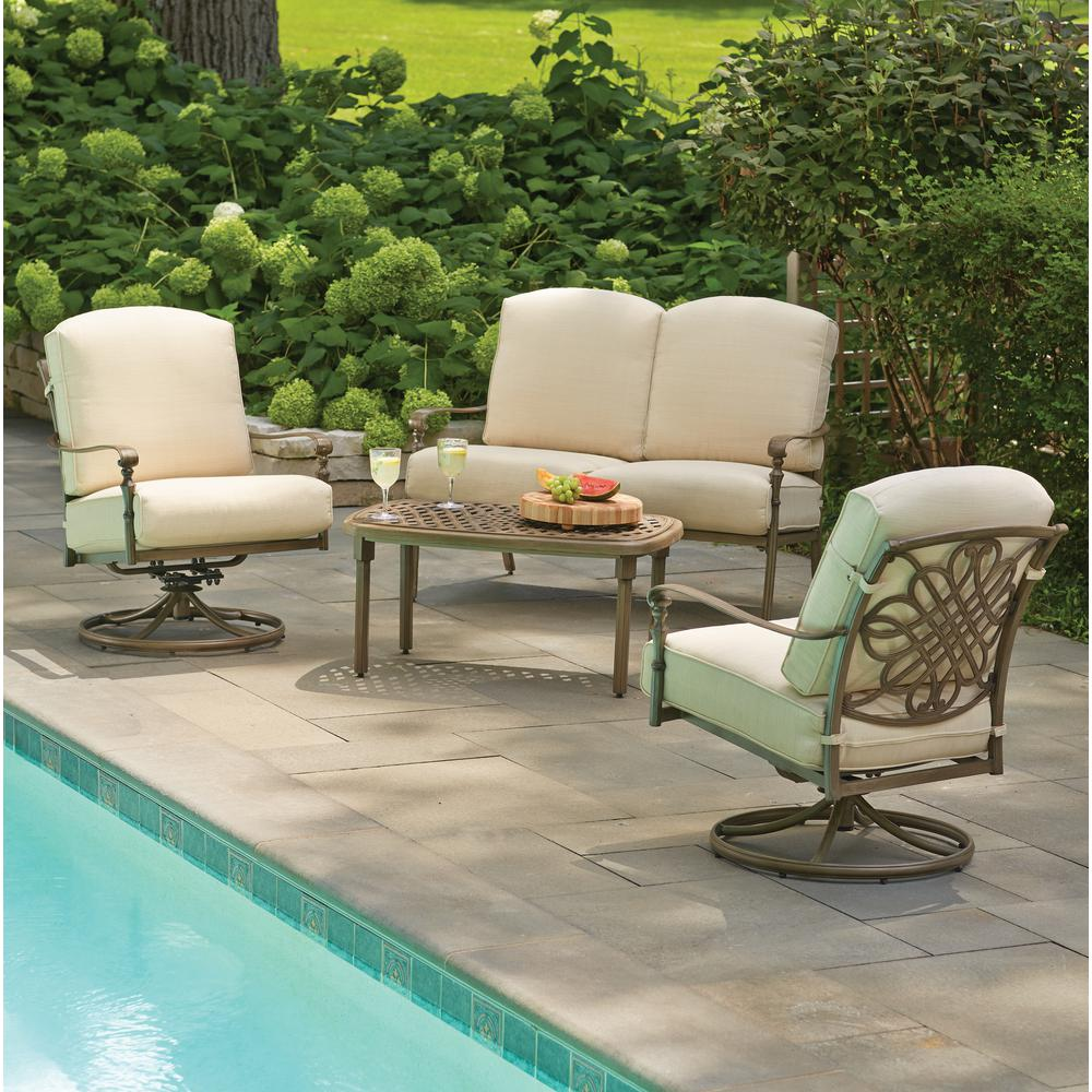 Hampton Bay Cavasso 4 Piece Metal Outdoor Deep Seating Set With Oatmeal  Cushions 1714104DSV2   The Home Depot