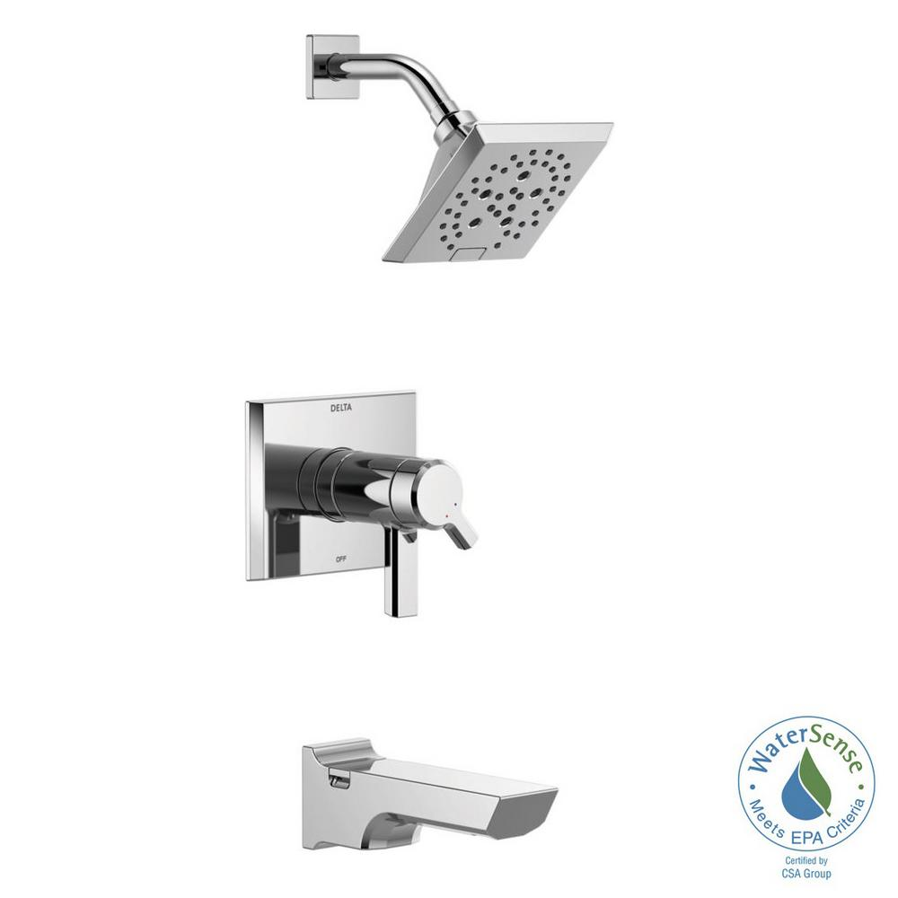 Pivotal TempAssure H2Okinetic 1-Handle Wall-Mount Tub and Shower Trim Kit in