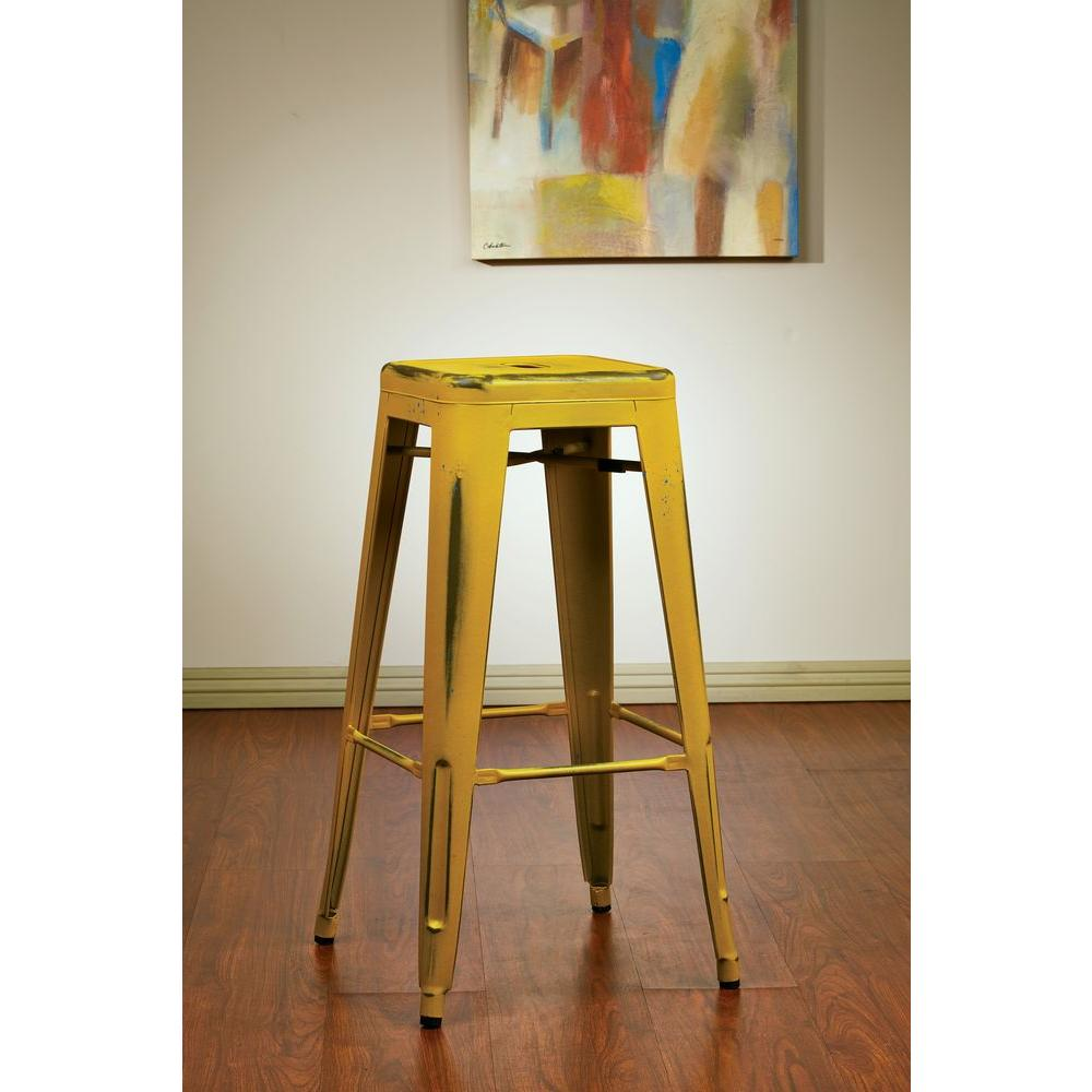 Bristow 30.25 in. Antique Yellow with Blue Specks Bar Stool (Set