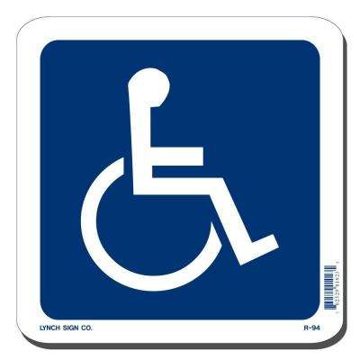 7 in. x 7 in. Blue on White Plastic Accessible Symbol Sign
