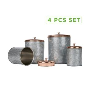 4-Piece Silver Double Wall Galvanized Canister Set with Lid, Storage Canisters, Food Storage Containers, Kitchen