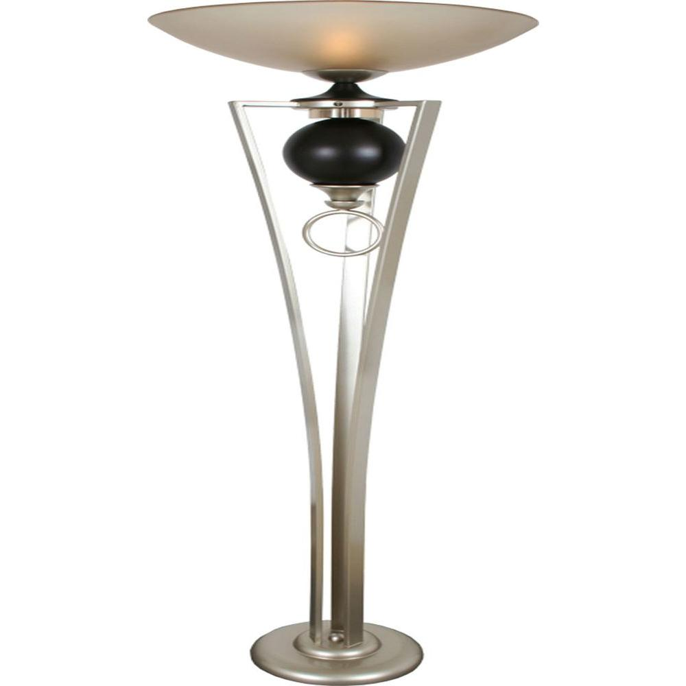Filament Design Century 72 in. Silver Jacobean and Cafe Noir Torchiere Lamp