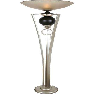Century 72 in. Silver Jacobean and Cafe Noir Torchiere Lamp