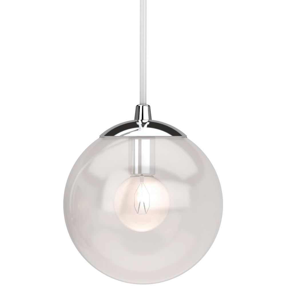 Volume Lighting Lawrence 1 Light Chrome Indoor Mini Hanging Pendant With Clear Gl Round Sphere Globe Orb Shade