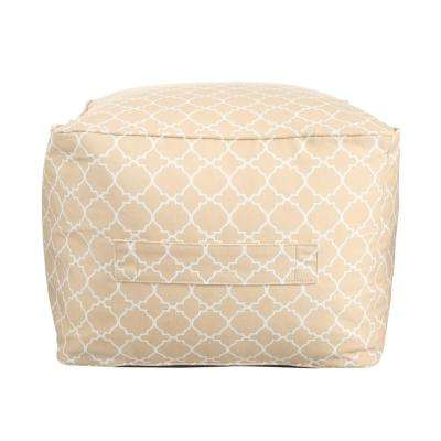 Sand Geo Square Outdoor Pouf with Handle