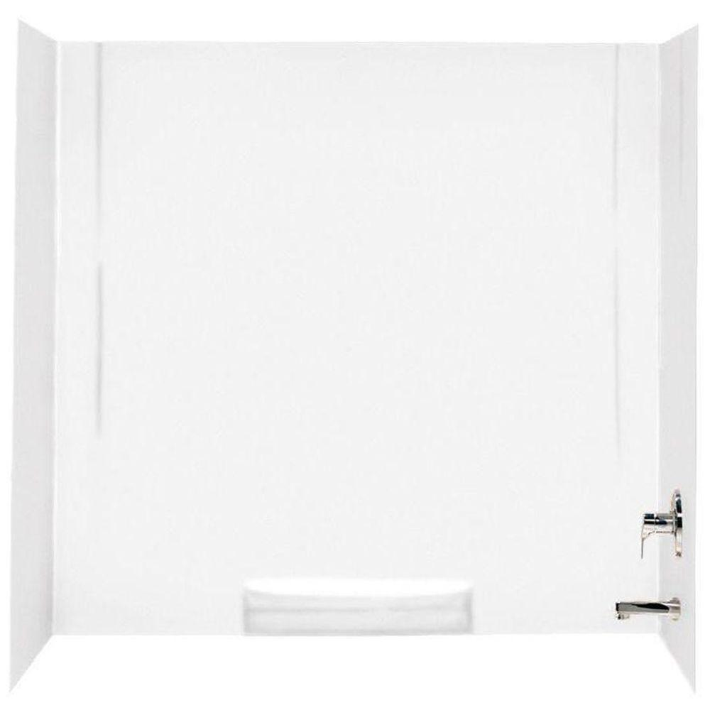 Swan 30 in. x 60 in. x 58 in. 3-Piece Easy Up Adhesive Alcove Tub ...