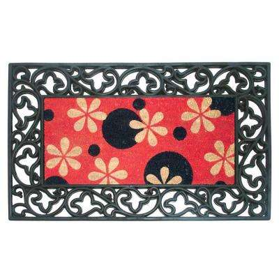Roulieau Phlox Dots 22 in. x 36 in. Rubber Coir Door Mat