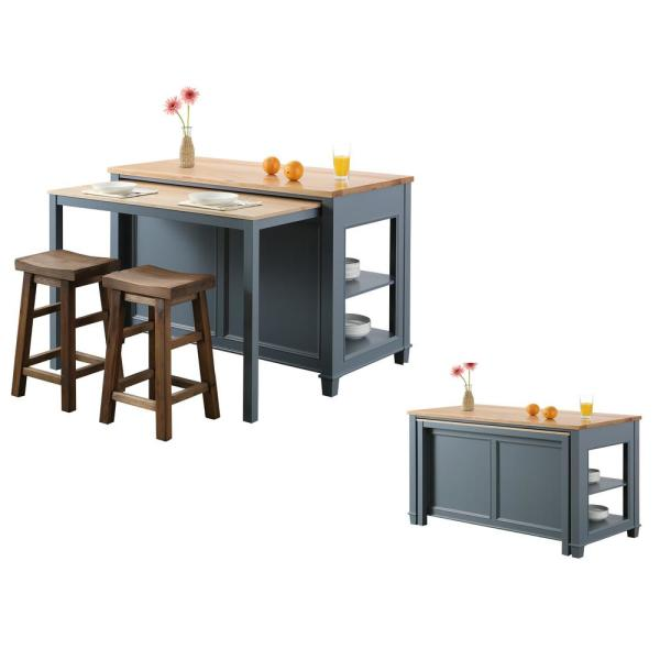 Design Element Medley Gray Kitchen Island with Slide Out Table KD-01-GY