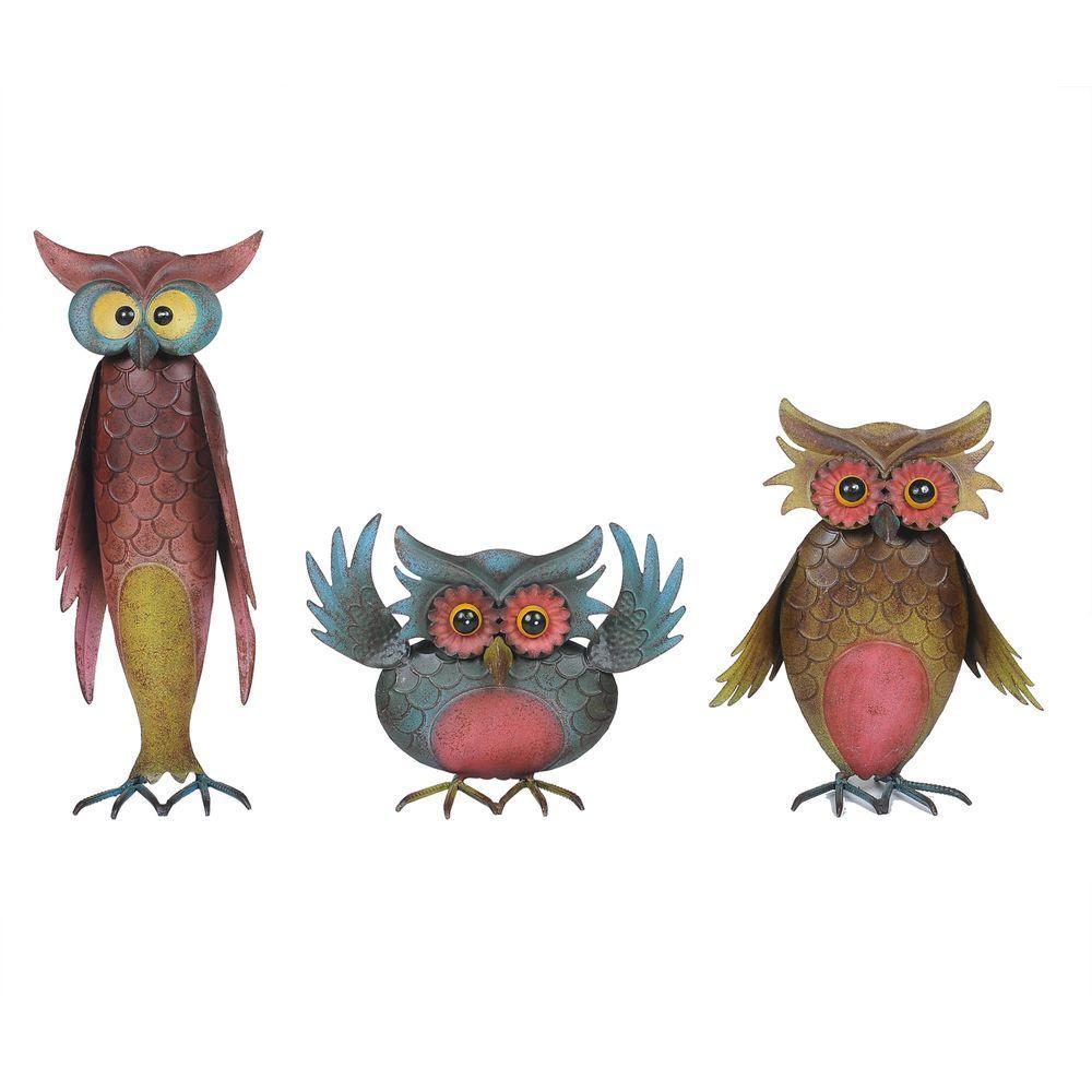 Sunjoy Owl Set Garden Statues110301041 The Home Depot