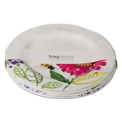 Fresh Flowers Melamine Salad Plate (Set of 4)