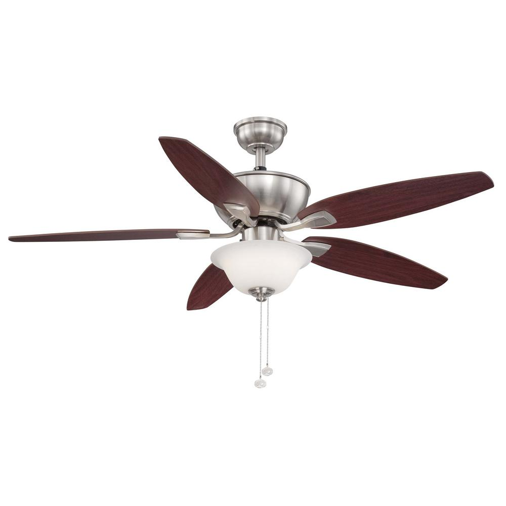 Hampton bay glendale 52 in indoor brushed nickel ceiling fan with integrated led indoor brushed nickel ceiling fan aloadofball Image collections