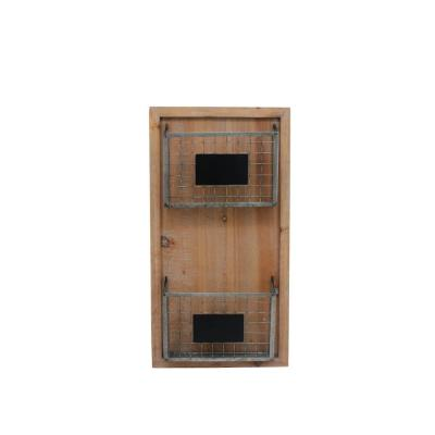 25 in. H x 13 in. W x 3 in. D StyleWell Wood Wall Organizer with 2 Metal Wire Baskets