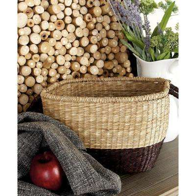 18 in. x 12 in. 2-Tone Tight-Weave Seagrass Rectangular Basket with Arched Handles (Set of 3)