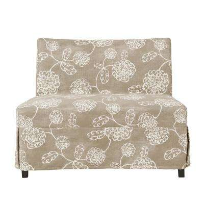 Nate Taupe Floral Armless Settee with Skirted Slipcover