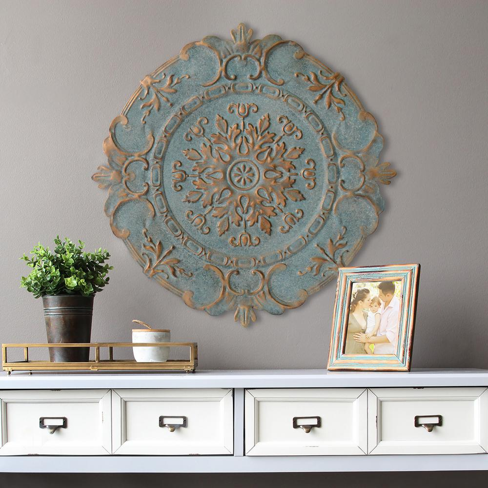 stratton home decor blue metal european medallion wall decor s09598 the home depot. Black Bedroom Furniture Sets. Home Design Ideas