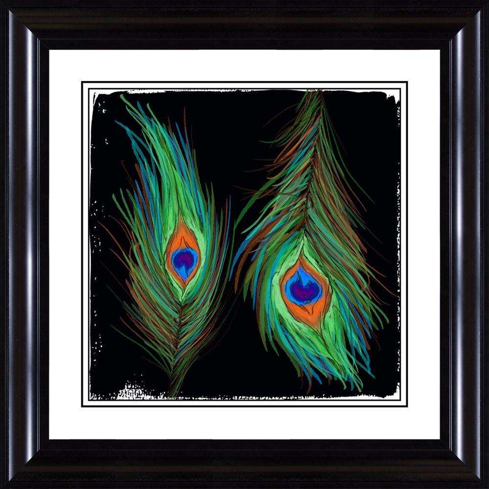 "PTM Images 25 in. x 25 in. ""Peacock Pattern B"" Framed Wall Art"