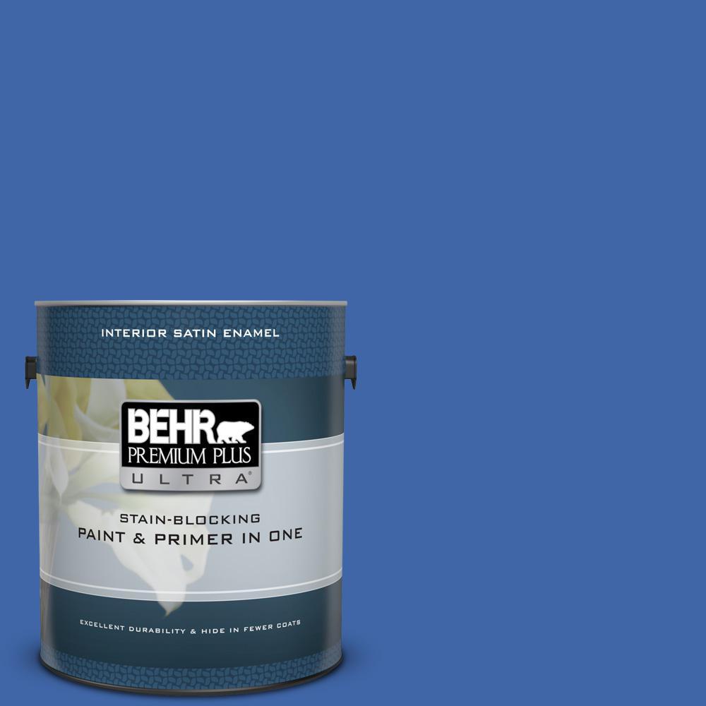 adc3f017ceaeba BEHR Premium Plus Ultra 1 gal.  P530-6 Indigo Batik Satin Enamel Interior