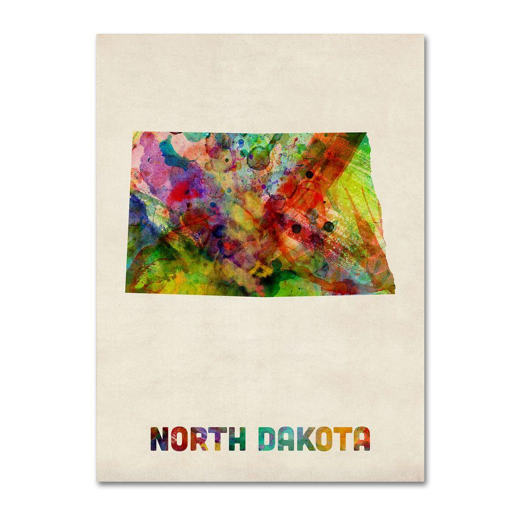 18 in. x 24 in. North Dakota Map Canvas Art